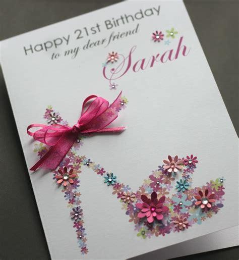 birthday card handmade sister friend personalised floral shoe a5 mum