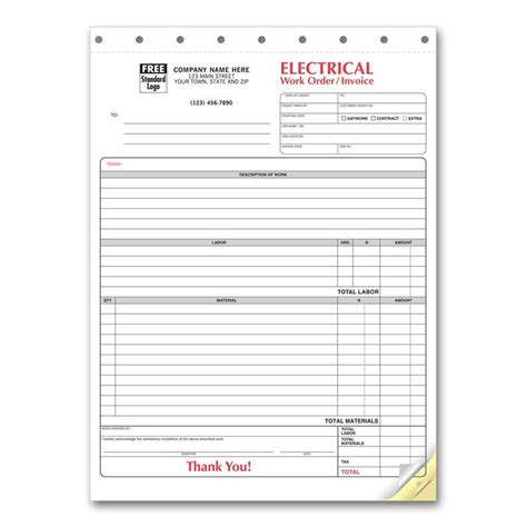 electrical invoice custom carbonless printing