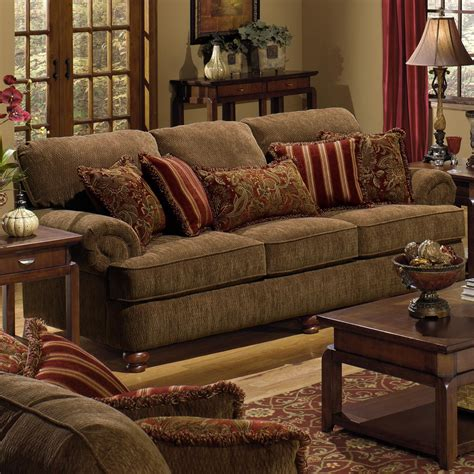 Living Room Sets Jackson Ms by Belmont Sofa With Rolled Arms And Decorative Pillows By