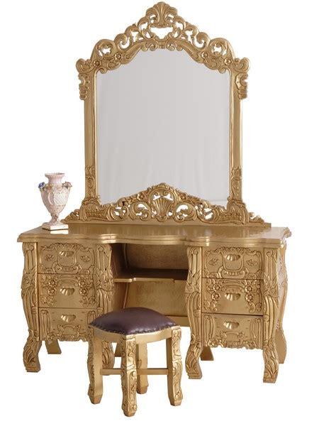 meuble coiffeuse pour chambre coiffeuse baroque rococo en acajou dor monza meuble de style