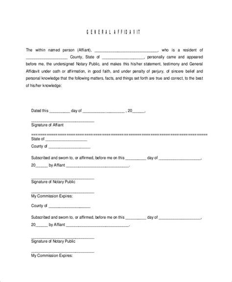 general affidavit template sle affidavit form 15 free documents in pdf doc