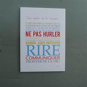 Regle De Vie A La Maison : affiche les r gles de la maison ~ Dailycaller-alerts.com Idées de Décoration