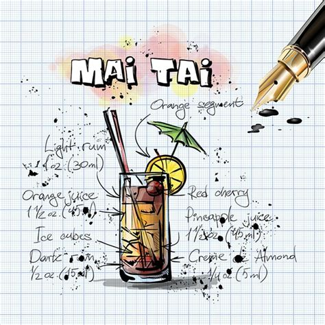 illustration mai tai cocktail drink alcohol  image  pixabay