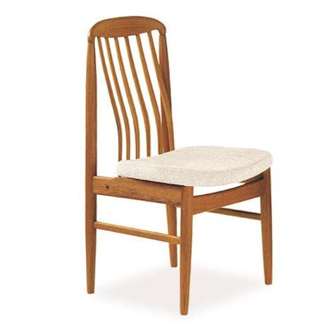 bl10 high back teak dining chair with fabric seat scan