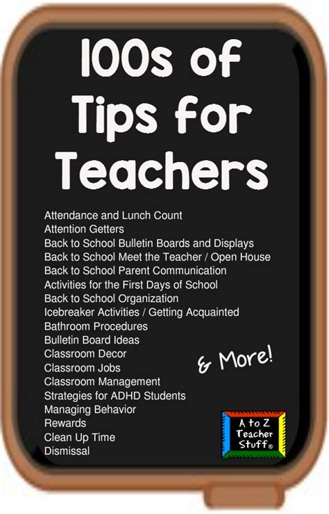a to z stuff tips for teachers