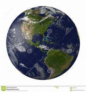 Planet Earth With Clouds. North And South America. Royalty ...