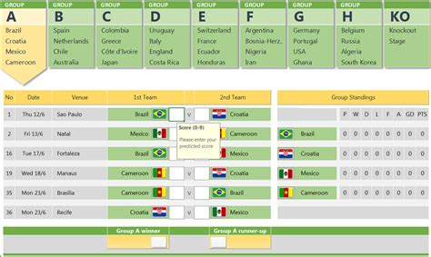 Download Game World Template by World Cup 2014 Free Excel Prediction Template