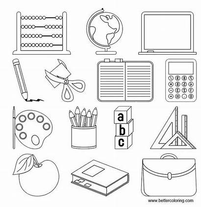Coloring Supplies Pages Computer Printable Adults