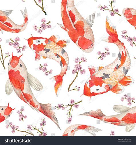 Japan Cherry Blossom Wallpaper Watercolor Oriental Pattern Rainbow Carps Seamless Stock Vector 250710886 Shutterstock
