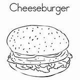 Burger Coloring Pages Cheeseburger Printable Hamburger Chicken sketch template