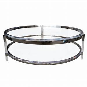 Round coffee table in lucite nickel by charles hollis for Acrylic coffee tables for sale
