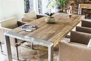 Tisch Aus Holz : esstisch aus recyceltem holz mit edelstahl der tischonkel ~ Watch28wear.com Haus und Dekorationen