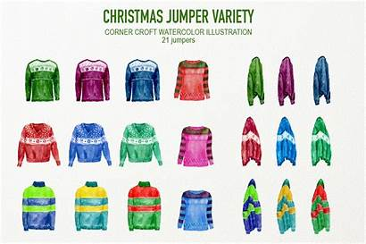 Christmas Clipart Watercolor Jumper Jumpers Variety Painted