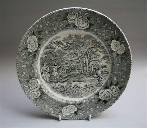 black white adams pottery dinner plate woodcock