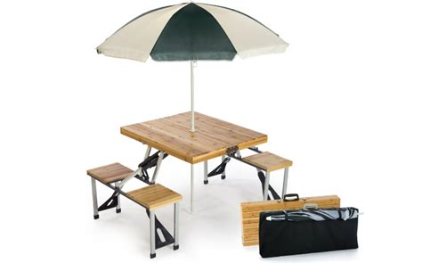 wooden picnic table with umbrella portable wood folding table with umbrella by picnic plus