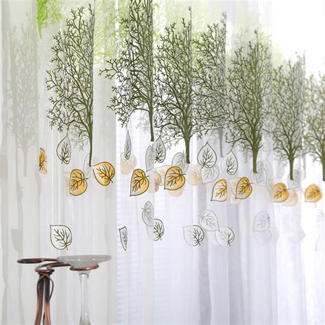 customized trees print tulle voile door window curtains