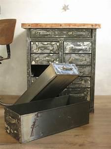 Meuble Industriel Vintage : meuble industriel metal et bois vintage les vieilles choses ~ Teatrodelosmanantiales.com Idées de Décoration
