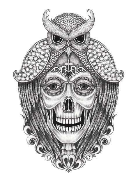 Art Skull Surreal Day The Dead Stock Illustration