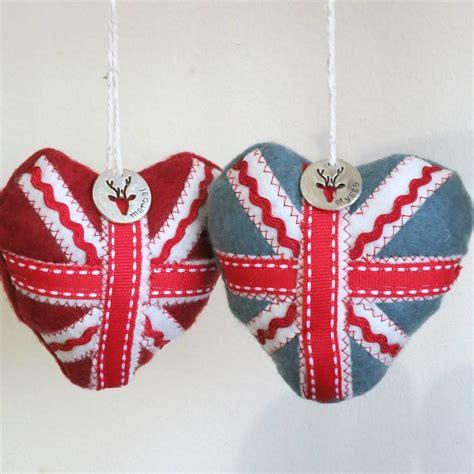 set  personalised union jack christmas decorations