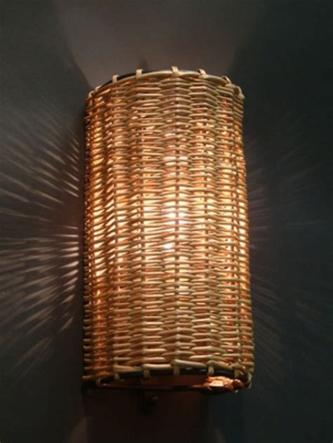 modern wall l with a wicker shade
