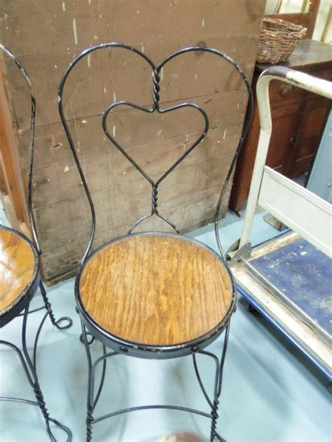 set   black iron ice cream parlor chairs heart