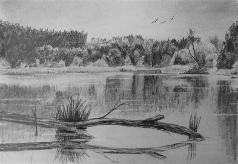 draw reflective water  art lessons