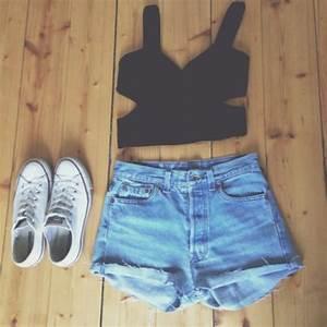Shorts: jeans, denim shorts, crop tops, black, black crop ...