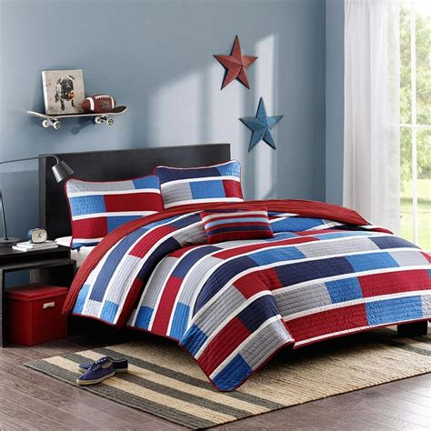 Boy Bedding by Blue White Blocks Or Coverlet Set