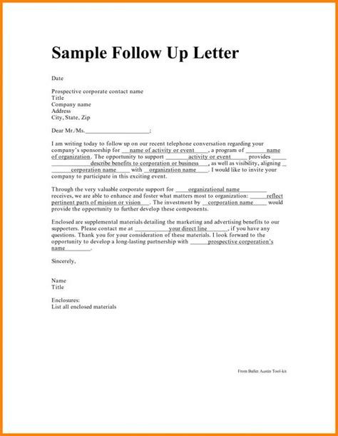 Application Followup Email by Follow Up Letter After Application Template
