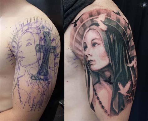 sleeve black  grey virgin mary tattoo chronic ink