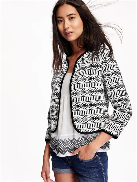 Old Navy Jacquard Open Front Jacket For Women 3400