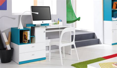 bureau design ado et enfant en bois blanc et bleu jolly