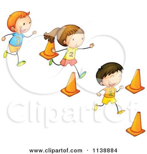 digital wall children running through cones in an obstacle race posters
