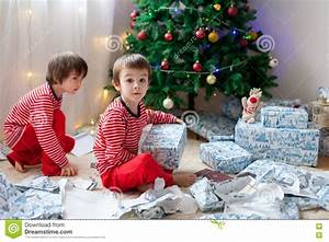 Two Sweet Boys, Opening Presents On Christmas Day Stock ...