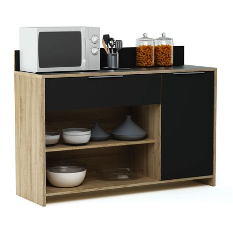 meuble desserte en bois 1 porte 1 tiroir 2 niches l123 x