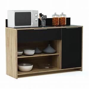 Meuble Cuisine Desserte : meuble desserte en bois 1 porte 1 tiroir 2 niches l123 x ~ Teatrodelosmanantiales.com Idées de Décoration