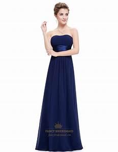 navy blue long open back chiffon bridesmaid dresses with With navy blue long dress for wedding