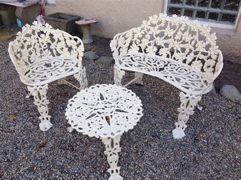 garden cast iron bench set patio outdoor chair table grape