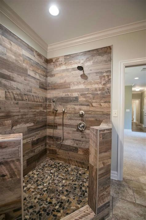 tile  master shower bathroom remodel shower rustic