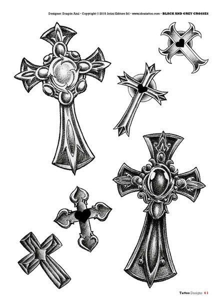 Tattoo flash book №2 - сross | 66 photos | VK | Crosses | Tattoos, Crucifix tattoo, Tattoo templates