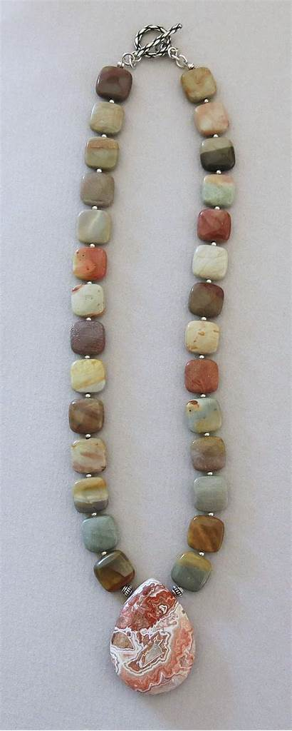 Handmade Necklace Mexican Agate Jewelry Lace Earrings