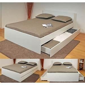 Oslo lit adulte 2 tiroirs 140 x 190 cm blanc achat for Chambre a coucher adulte avec matelas thiriez prix