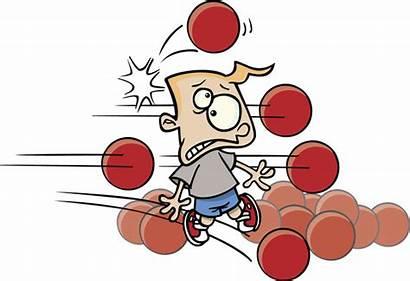 Dodgeball Cartoon Playing Boy Clipart Vector Illustration