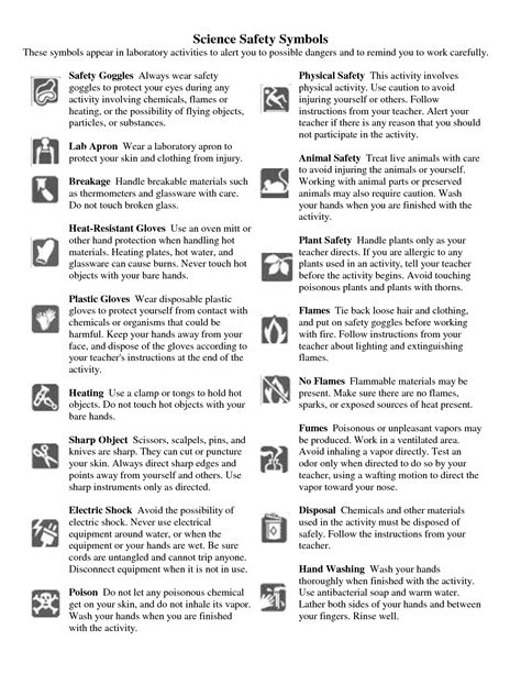 15 best images of middle school lab safety worksheet