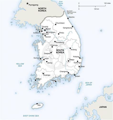 vector map  south korea political  stop map