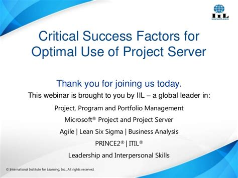 Critical Success Factors For Optimal Use Of Project Server