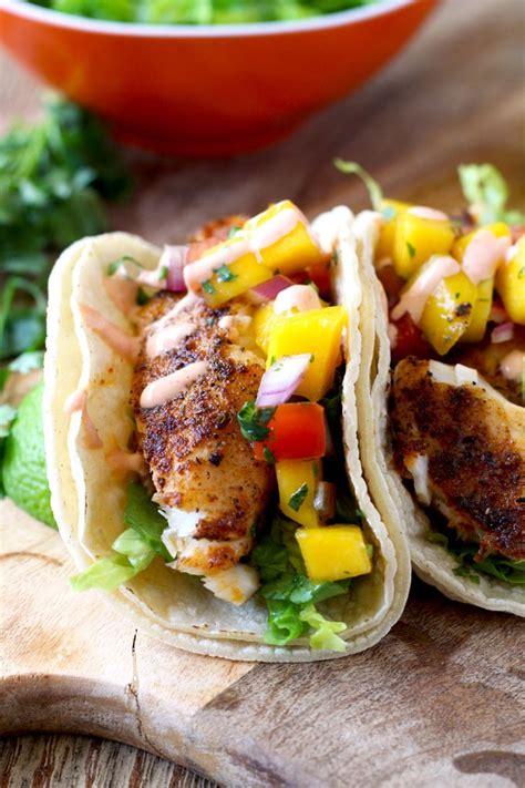 tacos mango blackened fish salsa aioli sriracha ever baja fresh lemonblossoms