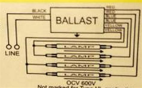 Fluorescent T12 Ballast Wiring by 2 T12 Ballasts To 1 T8 Ballast Running 4 Fluorescent Bulbs