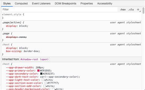 chrome custom element css stylesheet agent shown user why dev javascript tools