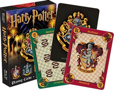 harry potter hogwarts house themed illustrated poker size
